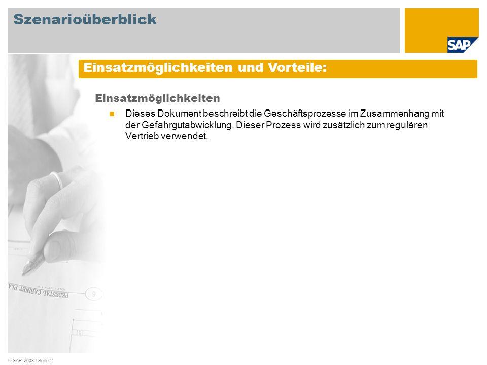 © SAP 2008 / Seite 2 Einsatzmöglichkeiten Dieses Dokument beschreibt die Geschäftsprozesse im Zusammenhang mit der Gefahrgutabwicklung. Dieser Prozess