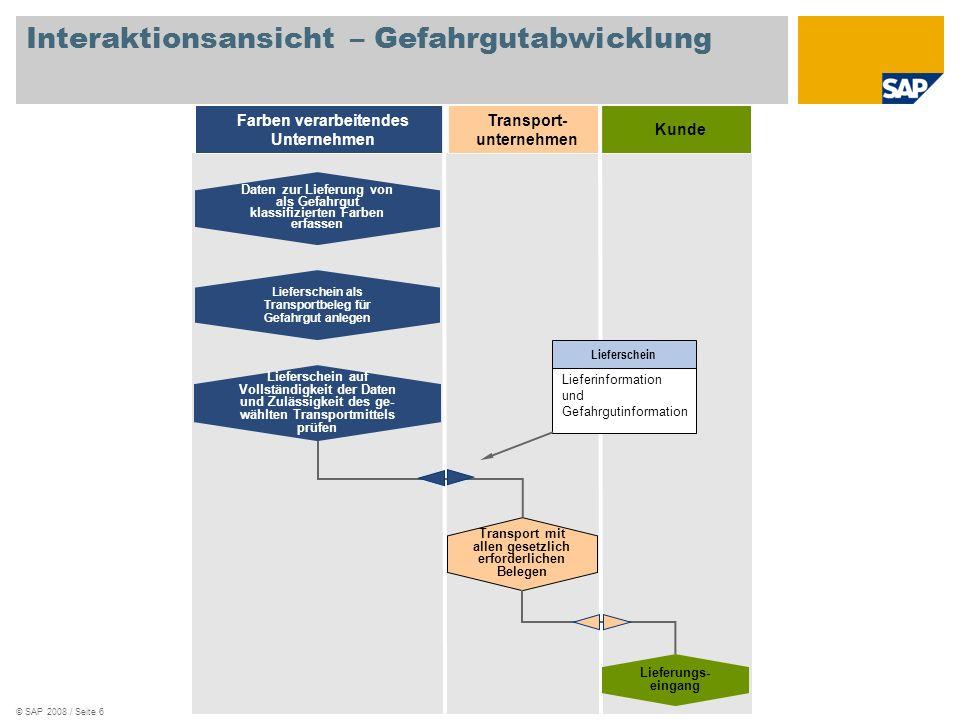 © SAP 2008 / Seite 6 Kunde Farben verarbeitendes Unternehmen Lieferschein als Transportbeleg für Gefahrgut anlegen Lieferschein auf Vollständigkeit de