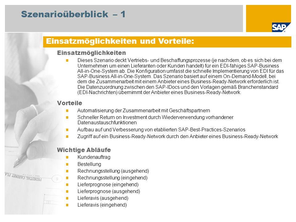 Erforderliche SAP-Anwendungen: Erforderlich SAP ECC 6.0 EhP4 SAP Best Practices: Streckenabwicklung (mit Lieferavis) Kundenauftragsabwicklung: Verkauf ab Lager Beschaffung ohne QM Beschaffungskontrakt Bestehende Zusammenarbeit mit einem Anbieter eines Business-Ready- Network Zuordnung zu SAP-IDocs durch den Anbieter eines Business-Ready-Network An den Abläufen beteiligte Benutzerrollen Vertriebssachbearbeiter Lagermitarbeiter Debitorenbuchhalter Einkäufer Einkaufsleiter Sachbearbeiter Fakturierung Kreditorenbuchhalter Szenarioüberblick – 2