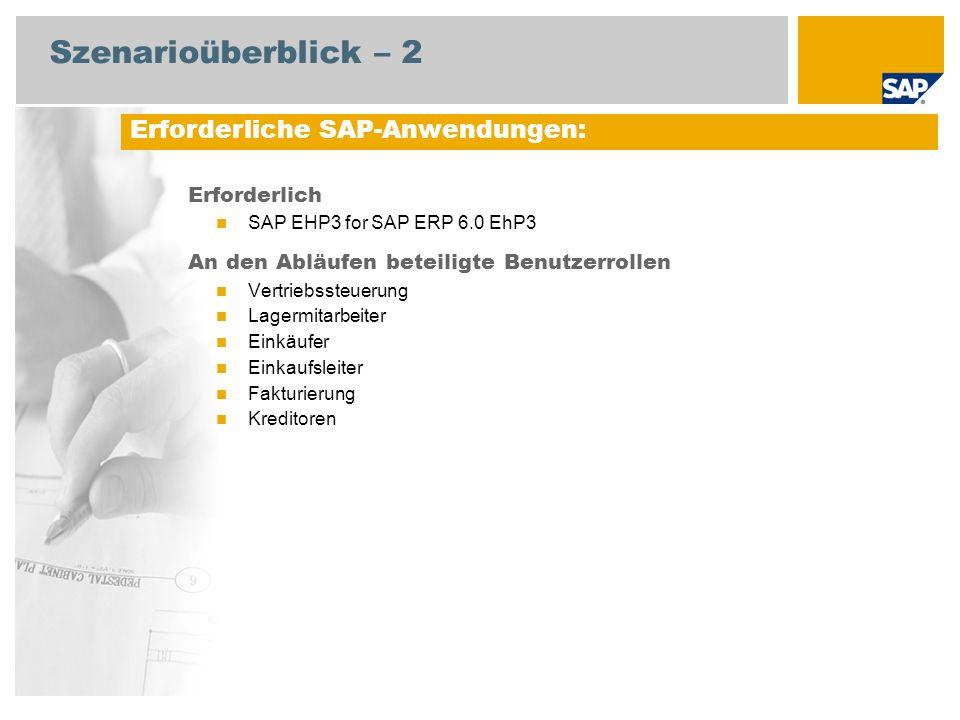 Szenarioüberblick – 2 Erforderlich SAP EHP3 for SAP ERP 6.0 EhP3 An den Abläufen beteiligte Benutzerrollen Vertriebssteuerung Lagermitarbeiter Einkäufer Einkaufsleiter Fakturierung Kreditoren Erforderliche SAP-Anwendungen: