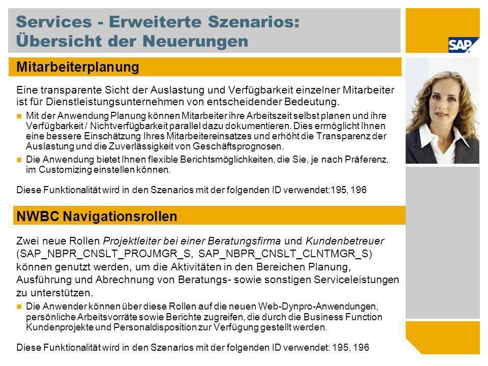 Services - Erweiterte Szenarios: Übersicht der Neuerungen Mitarbeiterplanung Eine transparente Sicht der Auslastung und Verfügbarkeit einzelner Mitarb