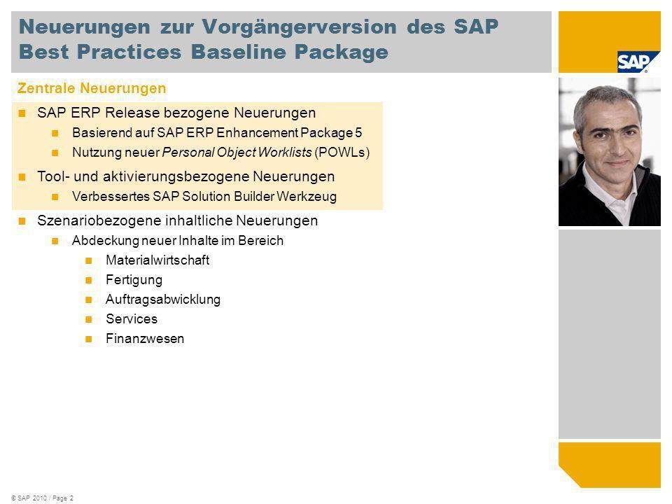 © SAP 2010 / Page 2 Zentrale Neuerungen SAP ERP Release bezogene Neuerungen Basierend auf SAP ERP Enhancement Package 5 Nutzung neuer Personal Object