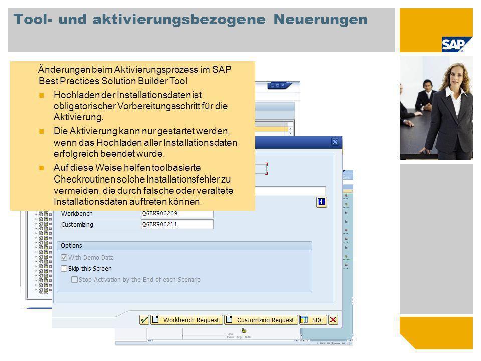 Tool- und aktivierungsbezogene Neuerungen Änderungen beim Aktivierungsprozess im SAP Best Practices Solution Builder Tool Hochladen der Installationsd