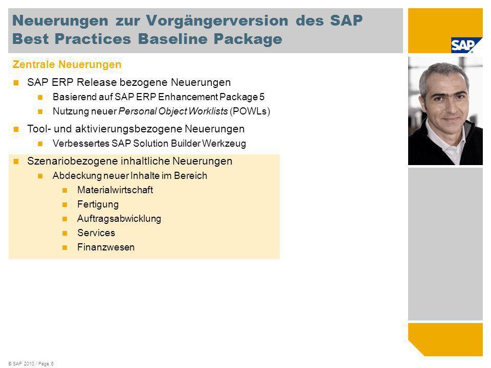 © SAP 2010 / Page 6 Zentrale Neuerungen SAP ERP Release bezogene Neuerungen Basierend auf SAP ERP Enhancement Package 5 Nutzung neuer Personal Object