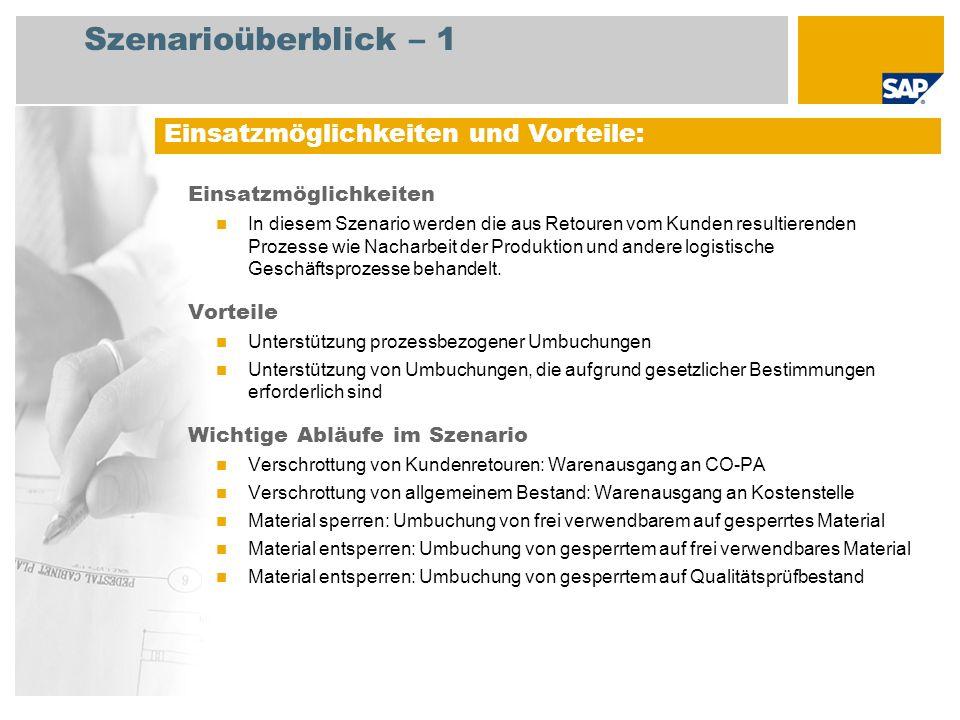 Szenarioüberblick – 2 Erforderlich SAP EHP3 for SAP ERP 6.0 EhP3 An den Abläufen beteiligte Benutzerrollen Lagermitarbeiter Erforderliche SAP-Anwendungen: