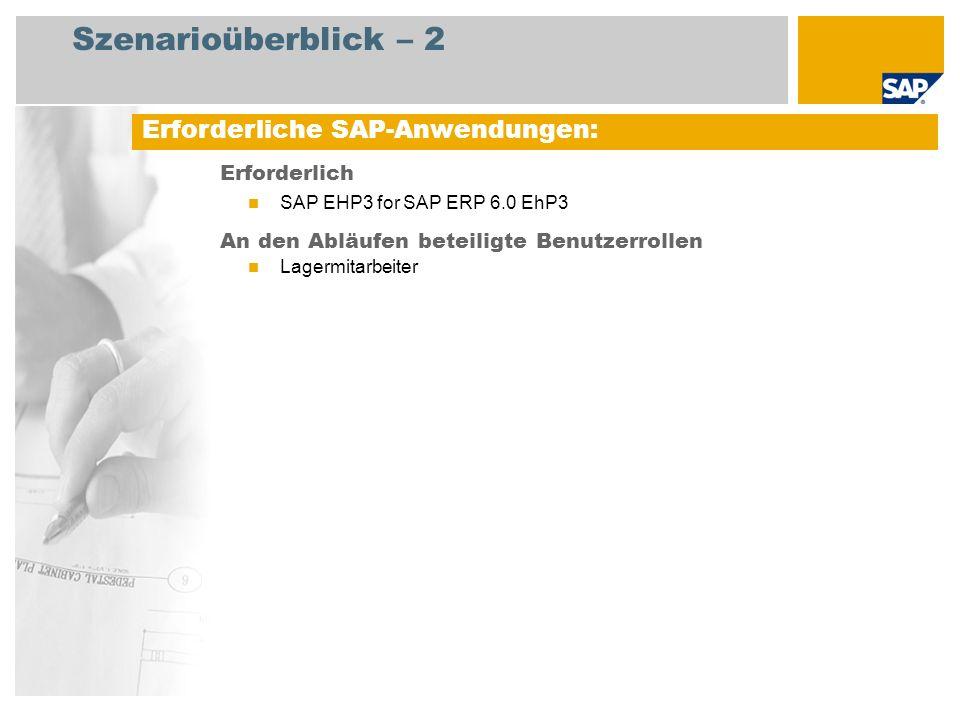 Szenarioüberblick – 2 Erforderlich SAP EHP3 for SAP ERP 6.0 EhP3 An den Abläufen beteiligte Benutzerrollen Lagermitarbeiter Erforderliche SAP-Anwendun