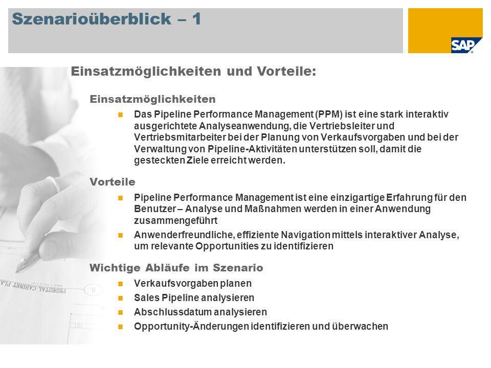 Szenarioüberblick – 2 Erforderlich SAP CRM 7.0 An den Abläufen beteiligte Benutzerrollen Vertriebsdirektor Vertriebsleiter Vertriebsmitarbeiter Erforderliche SAP-Anwendungen: