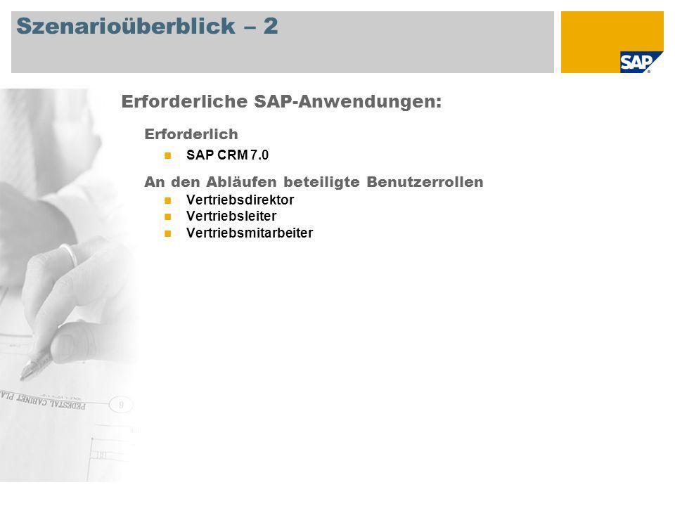 Szenarioüberblick – 2 Erforderlich SAP CRM 7.0 An den Abläufen beteiligte Benutzerrollen Vertriebsdirektor Vertriebsleiter Vertriebsmitarbeiter Erford