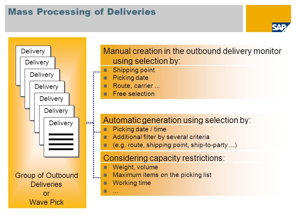 Mass Processing of Deliveries Manual creation in the outbound delivery monitor using selection by: Shipping point Picking date Route, carrier...