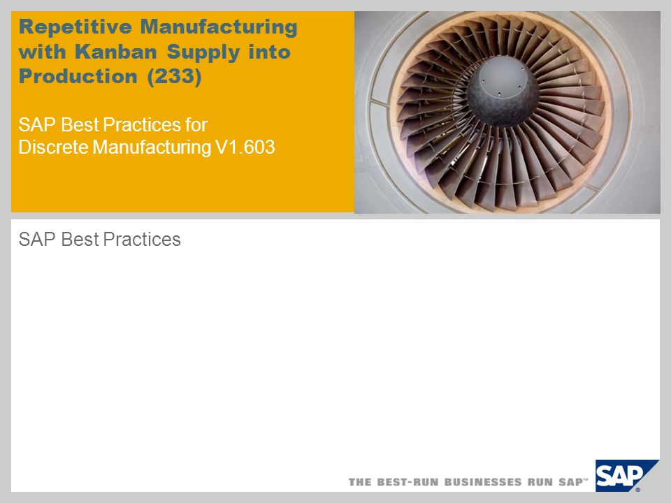 Repetitive Manufacturing with Kanban Supply into Production (233) SAP Best Practices for Discrete Manufacturing V1.603 SAP Best Practices