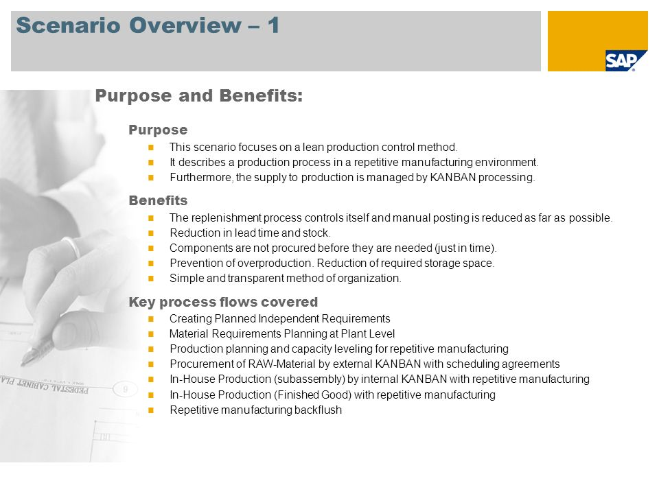 Scenario Overview – 2 Required SAP ECC 6.0 Company roles involved in process flows Production Planner Shop Floor Specialist SAP Applications Required: