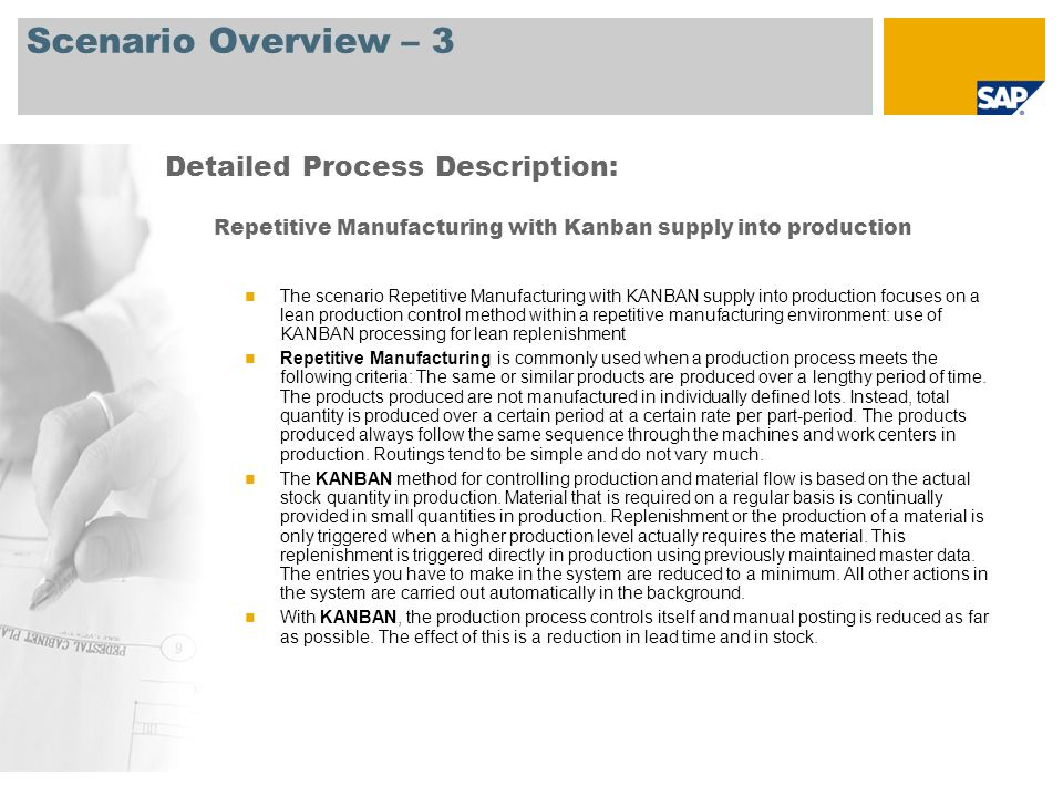 Process Flow Diagram Repetitive Manufacturing with Kanban supply into production Strategic Planner Producti on Planner Additional Processes Event Production Planner Operative MRP Beginning of Planning Cycle Reprocessing List Inventory Consumption @ Standard Cost CO-PA =Profitability Analysis, MRP = Material Requirements Planning, GI/GR = Goods Issue/Goods Receipt Periodic Plan Revision End Process Logistics Planning (144) Period-End Closing General Plant (181) REM Planning Table Repetitive Manufacturing Backflush Postprocessing List GI/GR Slip Inventory Receipt @ Standard Cost Plan Ind.