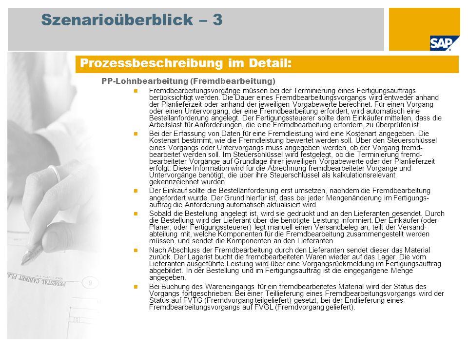 Szenarioüberblick – 3 PP-Lohnbearbeitung (Fremdbearbeitung) Fremdbearbeitungsvorgänge müssen bei der Terminierung eines Fertigungsauftrags berücksicht