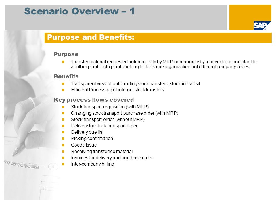 Scenario Overview – 2 Required SAP enhancement package 4 for SAP ERP 6.0 Company roles involved in process flows Purchaser Production Planner Warehouse Clerk Warehouse Manager Accounts Payable Accountant SAP Applications Required: