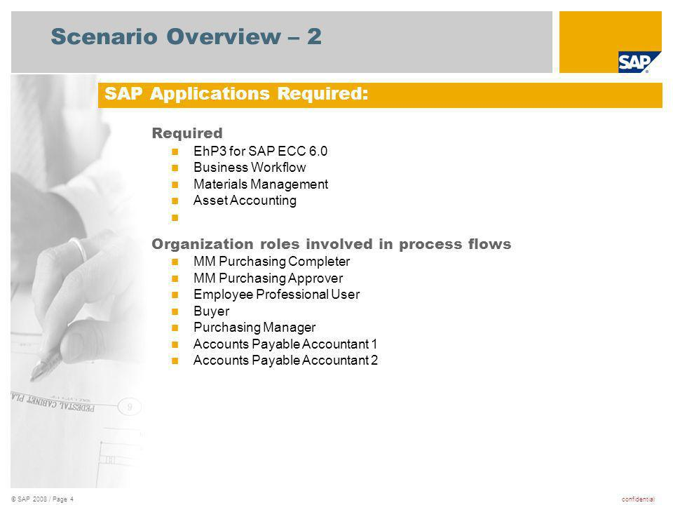 confidential© SAP 2008 / Page 4 Scenario Overview – 2 Required EhP3 for SAP ECC 6.0 Business Workflow Materials Management Asset Accounting Organizati