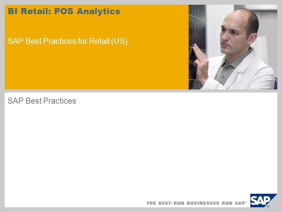 Scenario Overview – 1 Purpose As the reporting and analysis part of SAP POS DM, the Business content for POS Analytics allows to upload POS data efficiently to SAP BI using the PIPE (POS Inbound Processing Engine) and to create reports for the following areas: Store/Article Analytics Event Analytics Cashier Analytics Benefits Reporting is possible over very detailed POS data like store/sku, receipt and cashier POS Regional manager The retail calendar allows the reporting over fiscal year variants Analysis are possible for reason codes like e.g.