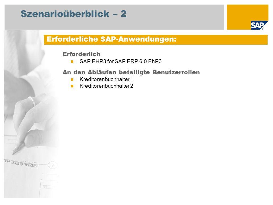 Szenarioüberblick – 2 Erforderlich SAP EHP3 for SAP ERP 6.0 EhP3 An den Abläufen beteiligte Benutzerrollen Kreditorenbuchhalter 1 Kreditorenbuchhalter