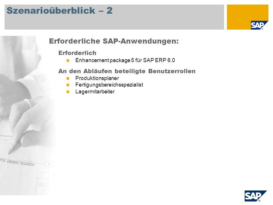 Szenarioüberblick – 2 Erforderlich Enhancement package 5 für SAP ERP 6.0 An den Abläufen beteiligte Benutzerrollen Produktionsplaner Fertigungsbereich