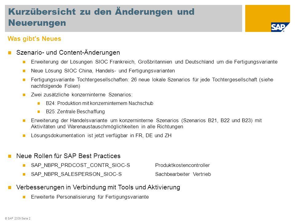 © SAP 2009/Seite 2 Was gibt's Neues Szenario- und Content-Änderungen Erweiterung der Lösungen SIOC Frankreich, Großbritannien und Deutschland um die F