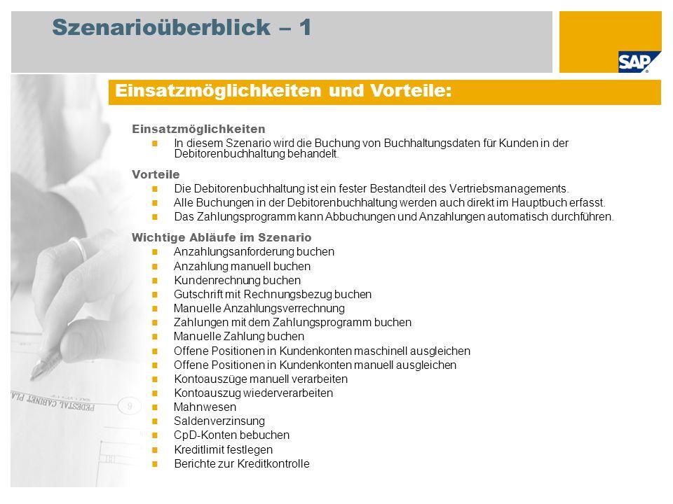 Szenarioüberblick – 2 Erforderlich SAP enhancement package 4 for SAP ERP 6.0 An den Abläufen beteiligte Benutzerrollen Debitorenbuchhalter 1 Debitorenbuchhalter 2 Leiter Debitorenbuchhaltung GP: Bankbuchhalter Erforderliche SAP-Anwendungen: