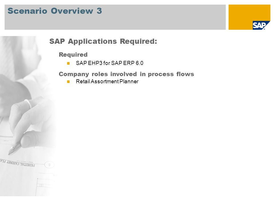 Scenario Overview 3 Required SAP EHP3 for SAP ERP 6.0 Company roles involved in process flows Retail Assortment Planner SAP Applications Required: