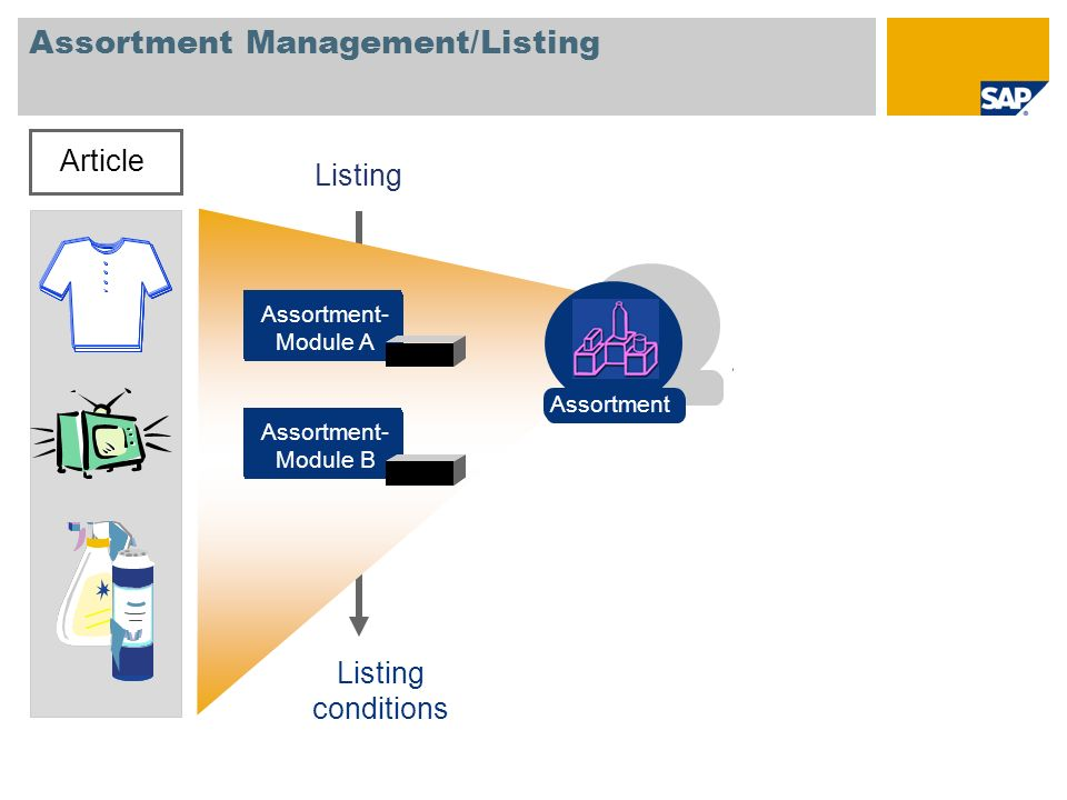 Assortment Management/Listing Article Assortment- Module A Assortment- Module B Listing conditions Assortment
