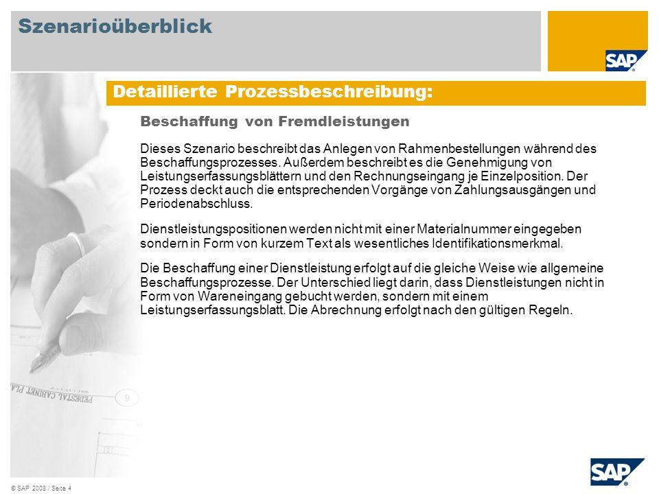 © SAP 2008 / Seite 4 Beschaffung von Fremdleistungen Dieses Szenario beschreibt das Anlegen von Rahmenbestellungen während des Beschaffungsprozesses.
