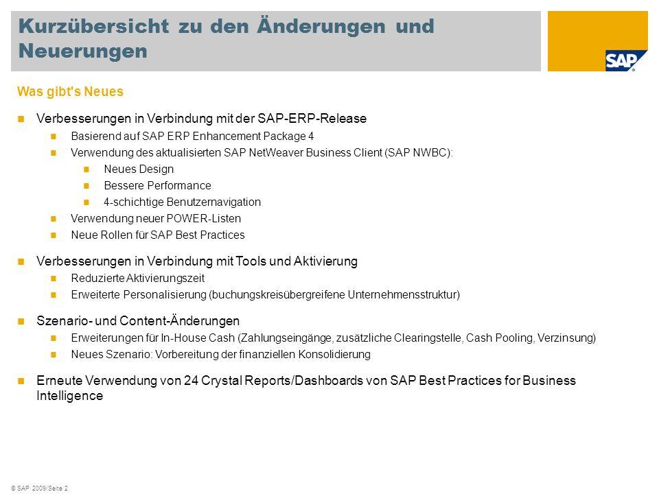 © SAP 2009/Seite 2 Was gibt's Neues Verbesserungen in Verbindung mit der SAP-ERP-Release Basierend auf SAP ERP Enhancement Package 4 Verwendung des ak