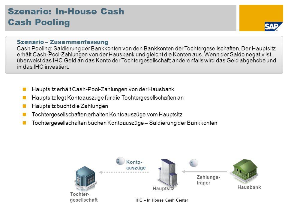 Hauptsitz erhält Cash-Pool-Zahlungen von der Hausbank Hauptsitz legt Kontoauszüge für die Tochtergesellschaften an Hauptsitz bucht die Zahlungen Tocht