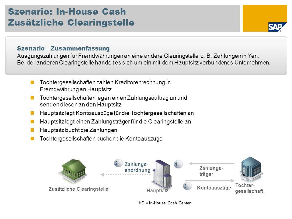 IHC = In-House Cash Center Zahlungs- anordnung 1 2 Tochter- gesellschaft Hauptsitz Zusätzliche Clearingstelle Zahlungs- träger Tochtergesellschaften z