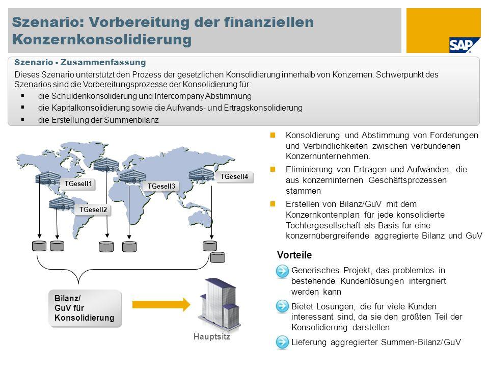 Szenario: Vorbereitung der finanziellen Konzernkonsolidierung TGesell4 TGesell3 TGesell1 TGesell2 Hauptsitz Vorteile Generisches Projekt, das probleml