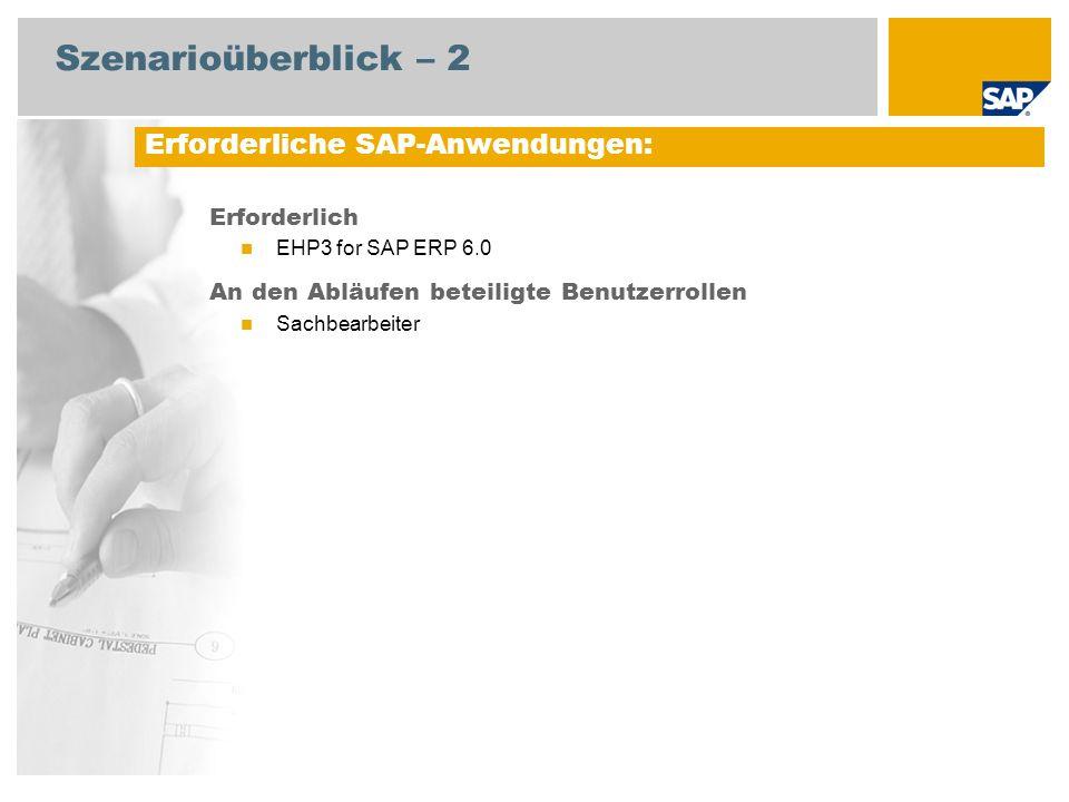 Szenarioüberblick – 2 Erforderlich EHP3 for SAP ERP 6.0 An den Abläufen beteiligte Benutzerrollen Sachbearbeiter Erforderliche SAP-Anwendungen: