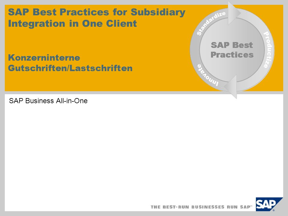 SAP Best Practices for Subsidiary Integration in One Client Konzerninterne Gutschriften/Lastschriften EHP4 for SAP ERP 6.0 SAP Business All-in-One
