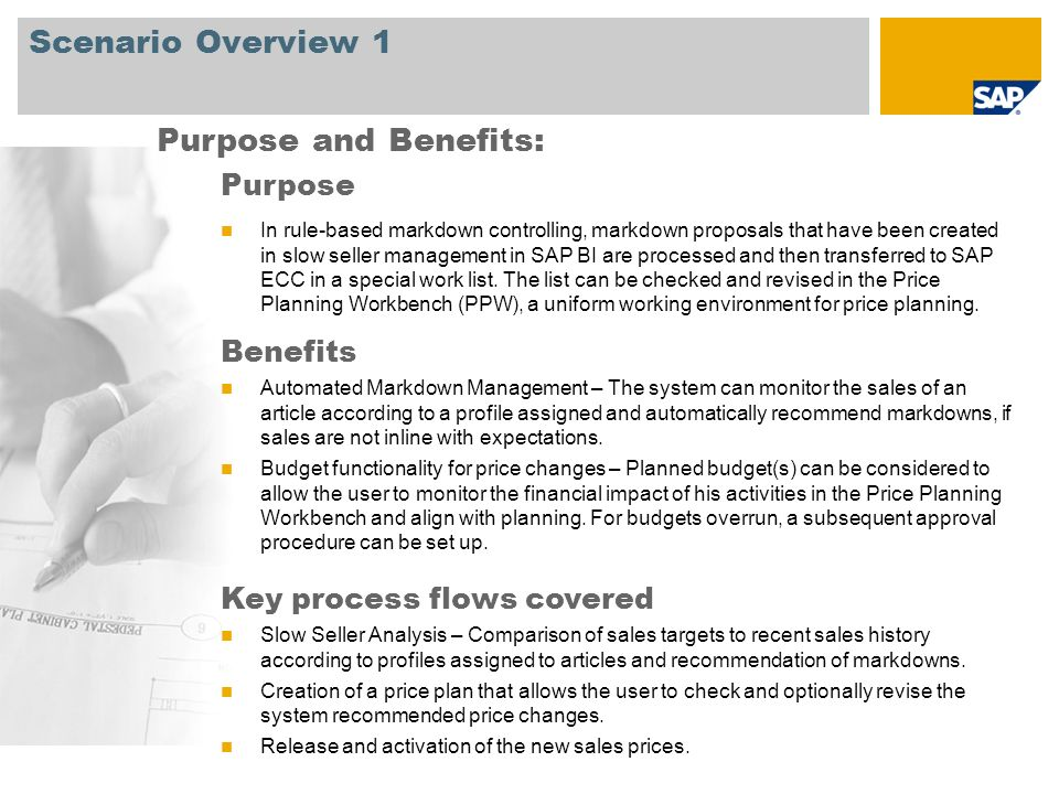Scenario Overview 2 Required SAP EHP3 for SAP ERP 6.0 Company roles involved in process flows Retail Markdown Planner Retail Markdown Planner – Manager Retail Markdown Planner – Power User SAP Applications Required: