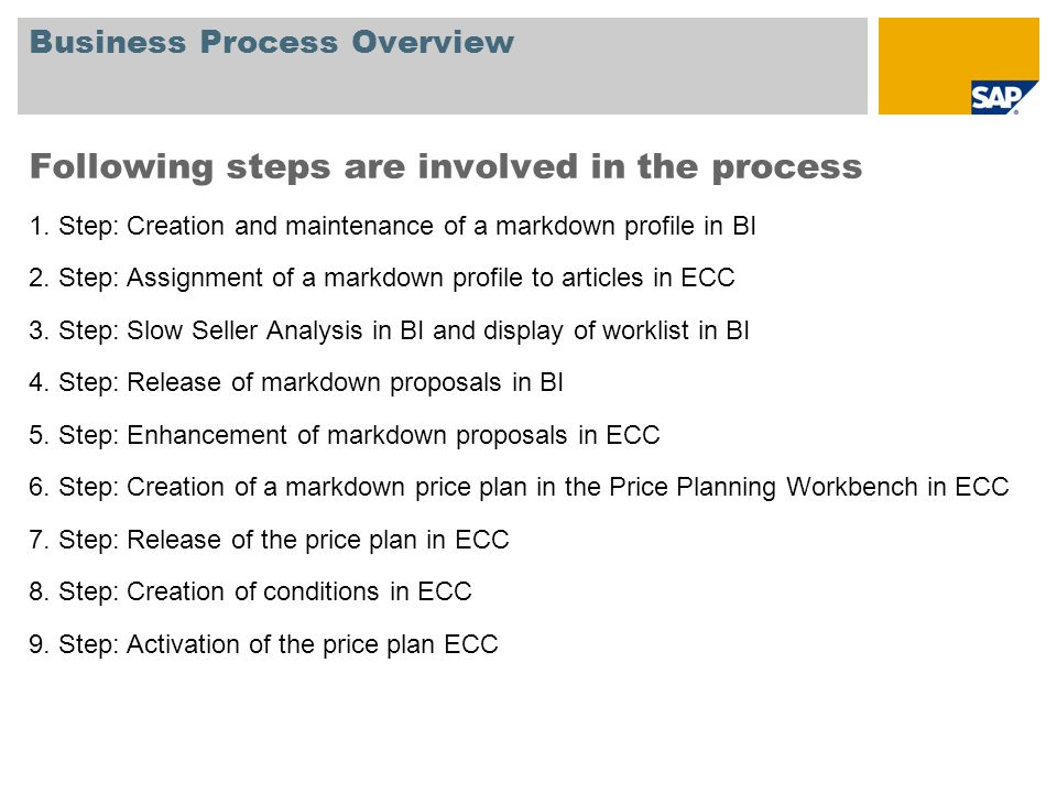Business Process Overview Following steps are involved in the process 1. Step: Creation and maintenance of a markdown profile in BI 2. Step: Assignmen