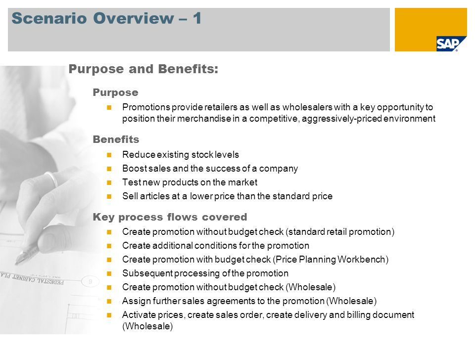 Scenario Overview – 2 Required SAP EHP3 for SAP ERP 6.0 Company roles involved in process flows Retail Promotion Planner Retail Promotion Planner – Power User Retail Promotion Planner - Manager Retail Seasonal Purchaser – Power User Retail Warehouse Clerk Retail Store Manager Sales Person Retail Non-Seasonal Buyer SAP Applications Required:
