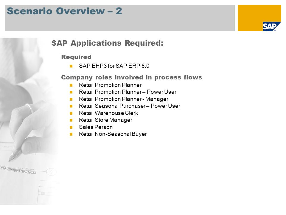 Scenario Overview – 2 Required SAP EHP3 for SAP ERP 6.0 Company roles involved in process flows Retail Promotion Planner Retail Promotion Planner – Po