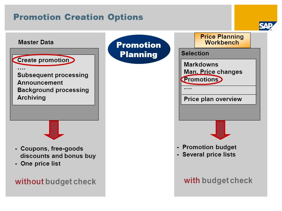 Subsequent processing Create promotion Assign site groups Additional assignments Enter promo- tion data Enter planning data Quantity planning Price planning Period-based Higher-level.