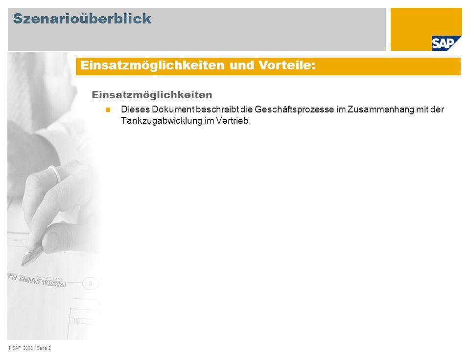 © SAP 2008 / Seite 2 Einsatzmöglichkeiten Dieses Dokument beschreibt die Geschäftsprozesse im Zusammenhang mit der Tankzugabwicklung im Vertrieb. Eins