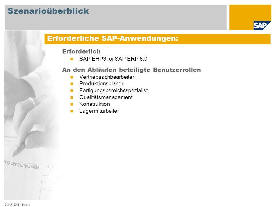 © SAP 2008 / Seite 3 Erforderlich SAP EHP3 for SAP ERP 6.0 An den Abläufen beteiligte Benutzerrollen Vertriebsachbearbeiter Produktionsplaner Fertigun