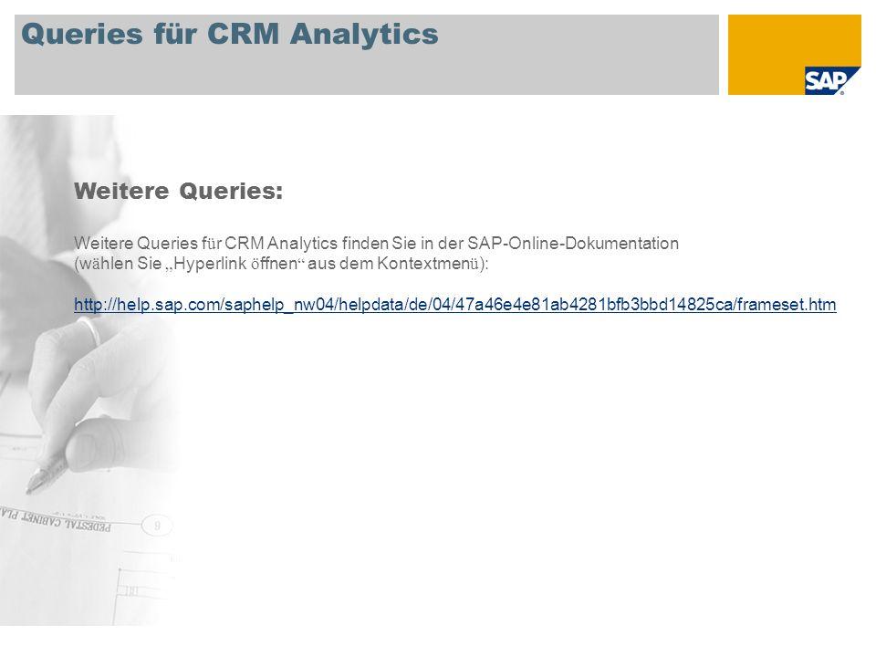 Queries für CRM Analytics Weitere Queries: Weitere Queries f ü r CRM Analytics finden Sie in der SAP-Online-Dokumentation (w ä hlen Sie Hyperlink ö ff