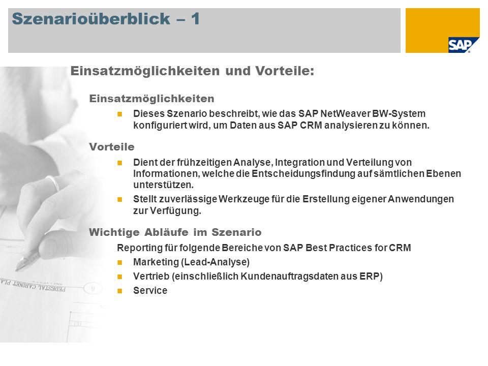 Szenarioüberblick – 1 Einsatzmöglichkeiten Dieses Szenario beschreibt, wie das SAP NetWeaver BW-System konfiguriert wird, um Daten aus SAP CRM analysi