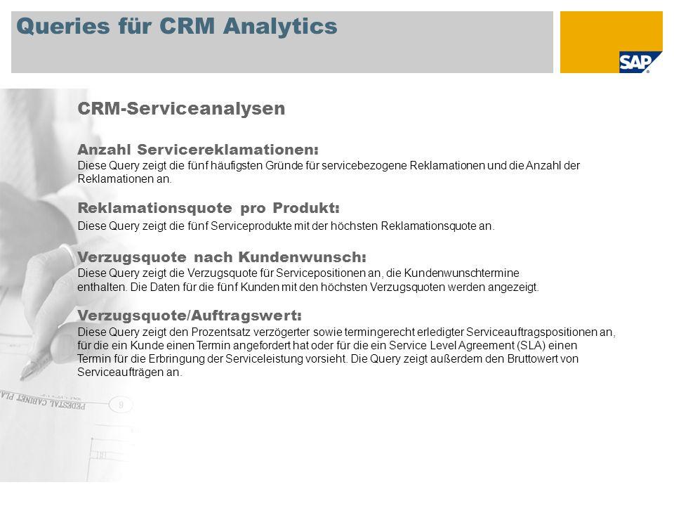 Queries für CRM Analytics CRM-Serviceanalysen Anzahl Servicereklamationen: Diese Query zeigt die fünf häufigsten Gründe für servicebezogene Reklamatio