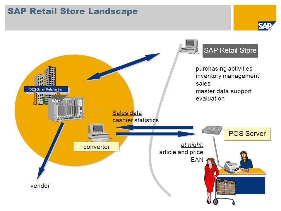 SAP Retail Store Landscape IDES Smart Retailer Inc. at night: article and price EAN Sales data cashier statistics converter SAP Retail Store vendor PO