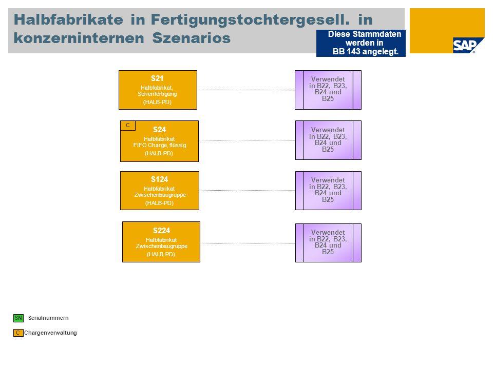 Halbfabrikate in Fertigungstochtergesell.