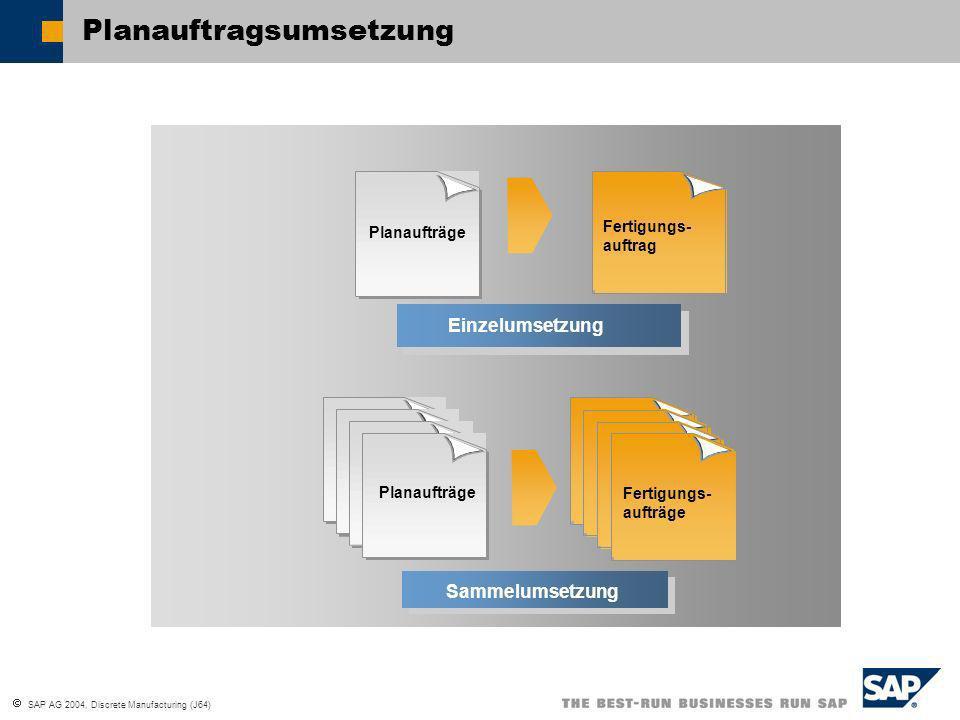 SAP AG 2004, Discrete Manufacturing (J64) Individual Conversion Einzelumsetzung PlanaufträgeFertigungs- aufträge Collective Conversion Sammelumsetzung