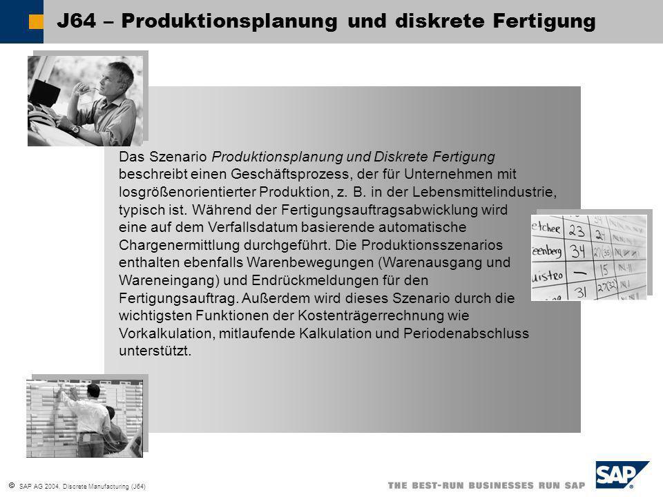 SAP AG 2004, Discrete Manufacturing (J64) J64 – Diskrete Fertigung GeschäftsvorteileKalkulation Produktions- planung Geschäftsvorteile Kalkulationslauf: Der Vorgang dient der Berechnung der Preise für die ausgewählten Materialien, die dann für die Aktuali- sierung des Standardpreises in den Materialstammsätzen verwendet werden.