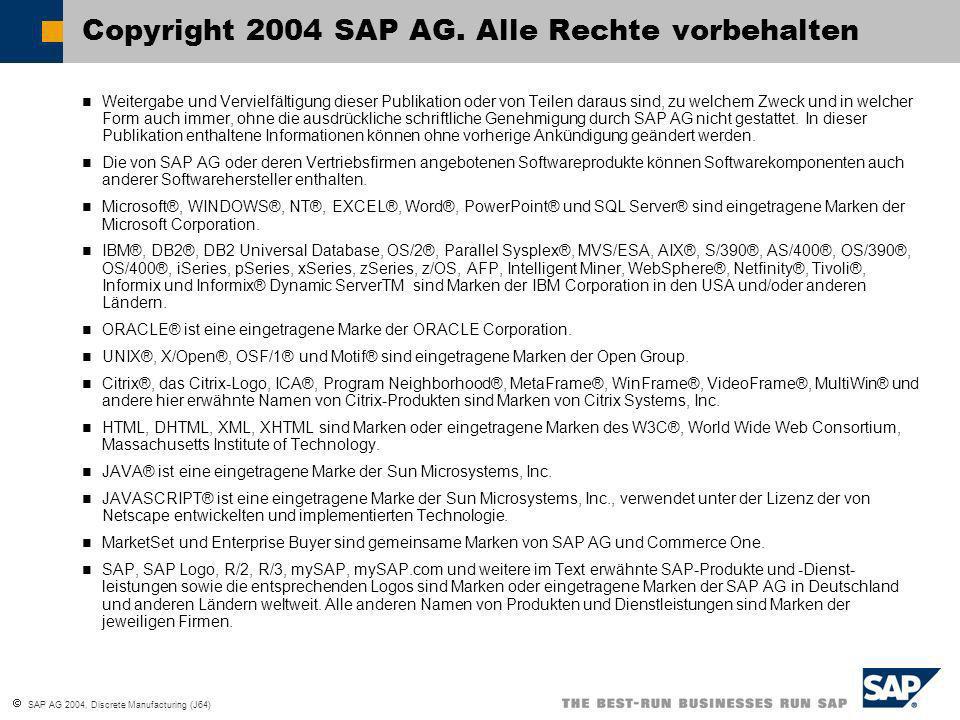 SAP AG 2004, Discrete Manufacturing (J64) Weitergabe und Vervielfältigung dieser Publikation oder von Teilen daraus sind, zu welchem Zweck und in welcher Form auch immer, ohne die ausdrückliche schriftliche Genehmigung durch SAP AG nicht gestattet.