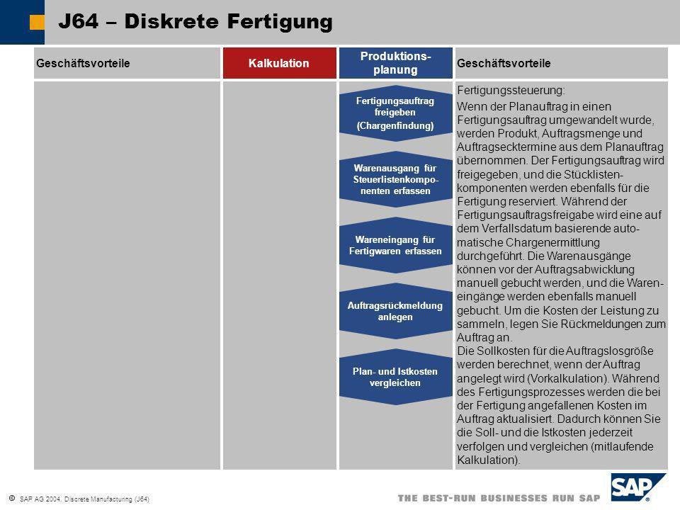 SAP AG 2004, Discrete Manufacturing (J64) J64 – Diskrete Fertigung GeschäftsvorteileKalkulation Produktions- planung Geschäftsvorteile Warenausgang fü