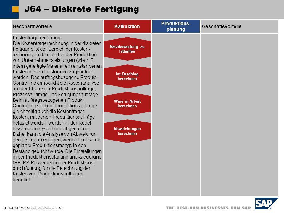 SAP AG 2004, Discrete Manufacturing (J64) J64 – Diskrete Fertigung GeschäftsvorteileKalkulation Produktions- planung Ware in Arbeit berechnen Abweichu